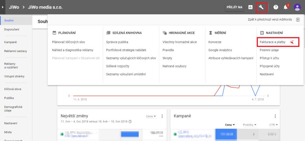 Google Adwords - doplnění kreditu 1