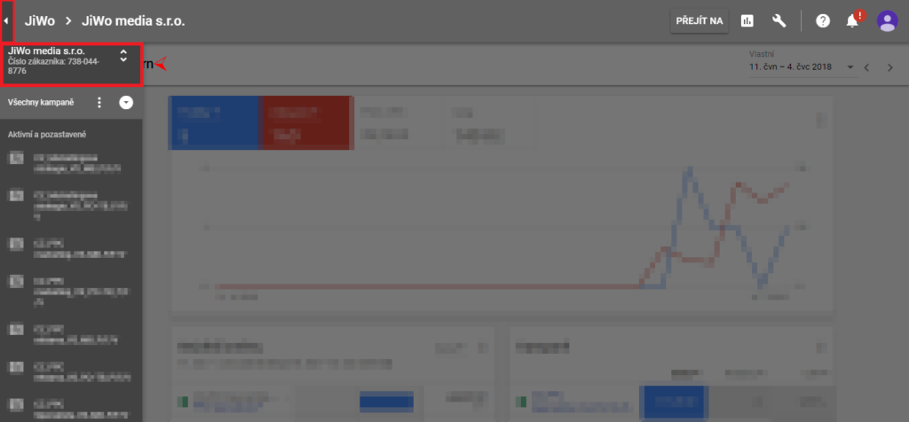 Google AdWords - připojení účtu