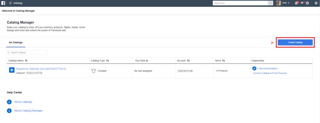 Business Manager - vytvoření katalogu 2