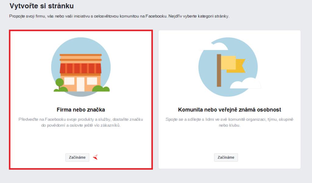 Facebook - vytvoření stránky 1