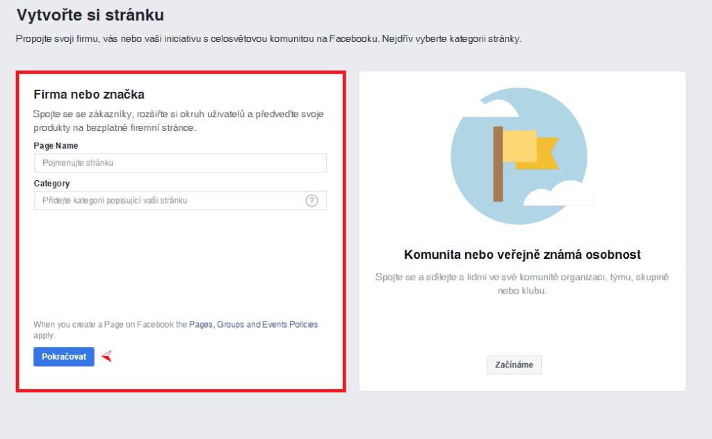 Facebook - vytvoření stránky 2