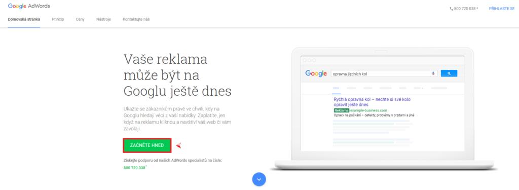 Google AdWords - založení účtu 1