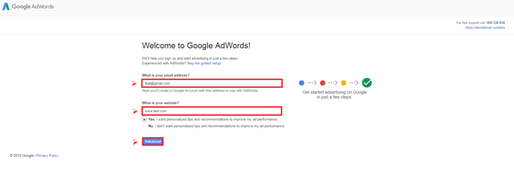 Google AdWords - založení účtu 2