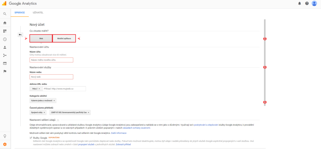 Google Analytics - vytvoření účtu 1