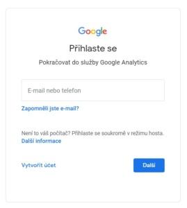 Jak založit účet Google Analytics 2